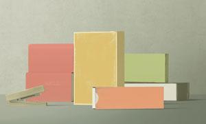 订书机与多款纸质包装盒贴图源文件