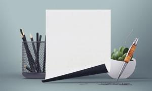 铅笔植物与卷边的纸张贴图分层模板