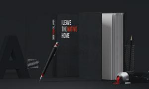 竖放的书籍封面书脊贴图展示源文件