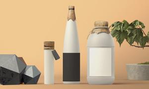 不同形状瓶子标签贴图效果分层模板