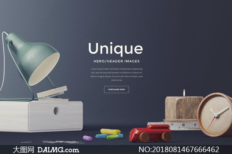 书籍等元素的网页头部分层素材         多行业用途公司网站页面设计