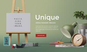 闹钟粉笔等元素的网页头部分层素材