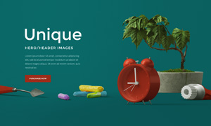 闹钟粉笔与植物等网页头部分层素材