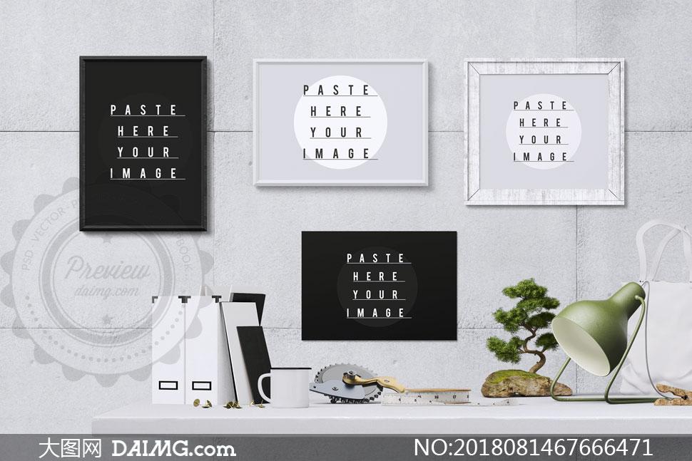 墙上的装饰挂画效果贴图模板源文件