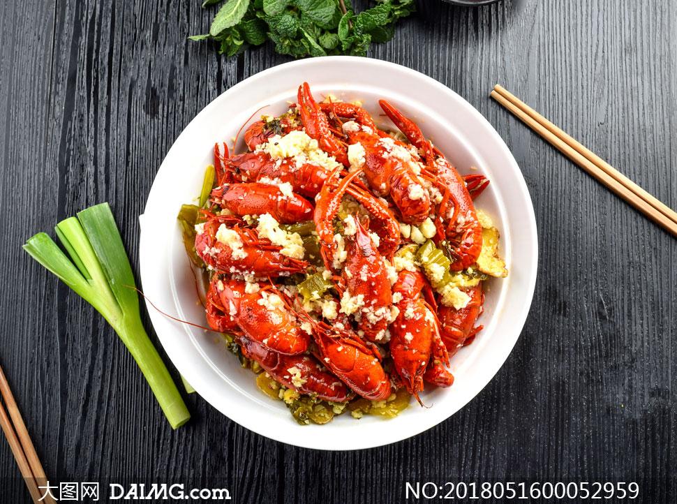 图片小龙虾蒜蓉摄影图片-大图网美食daimg.c美食节素材手绘海报图片