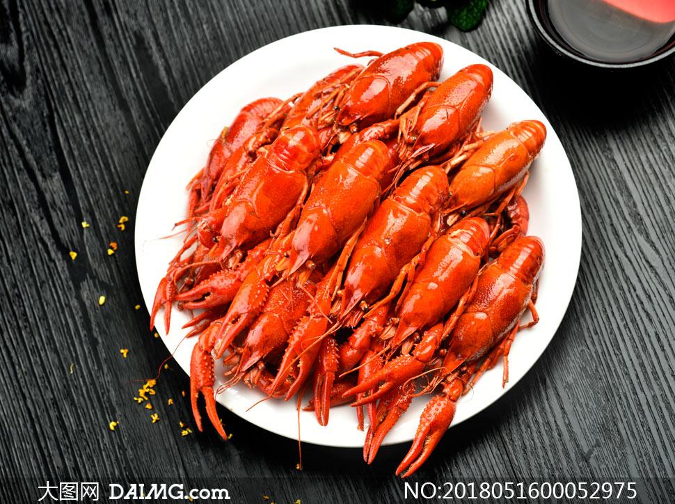 新鲜小龙虾食材高清摄影图片