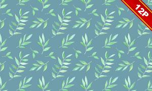 水彩波点与绿叶等元素无缝背景图片