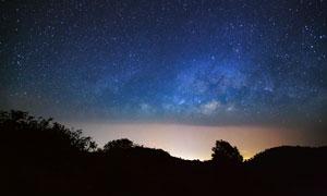 太陽落山后的夜空風光攝影高清圖片