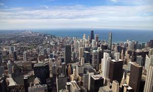 滨海城市高楼大厦鸟瞰摄影高清图片