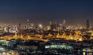 灯火通明的繁华大都市夜景高清图片
