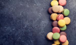 美味可口的马卡龙饼干摄影高清图片