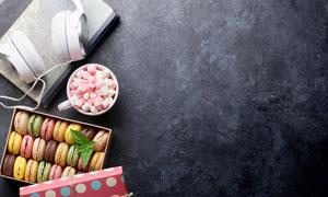 耳机糖果与马卡龙礼物摄影高清图片