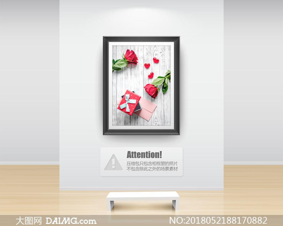 鲜花信封与礼物盒特写摄影高清图片 - 大图网设计素材