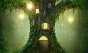 明亮灯光照耀下的树屋创意高清图片