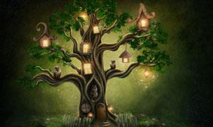 有猫头鹰与小房子的树创意高清图片