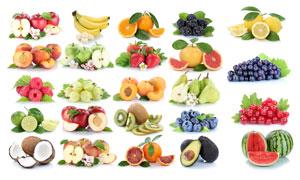 蓝莓葡萄与柠檬等水果摄影高清图片