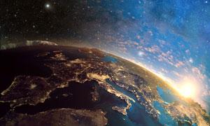 上帝視角鳥瞰下的地球創意高清圖片