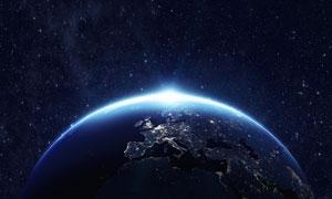 浩瀚宇宙中的藍色星球創意高清圖片