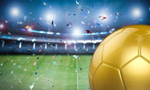 彩色粉屑与金色的足球创意高清图片