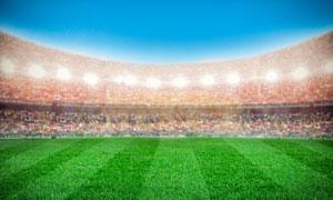 人山人海的足球场创意设计高清图片