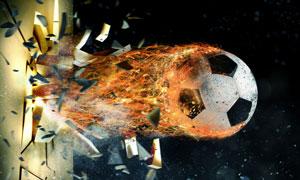 冲破了墙壁的火焰足球创意高清图片