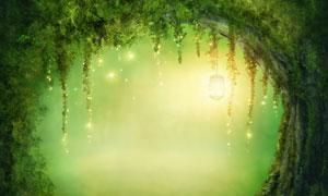 灯笼星光装饰的树藤门创意高清图片
