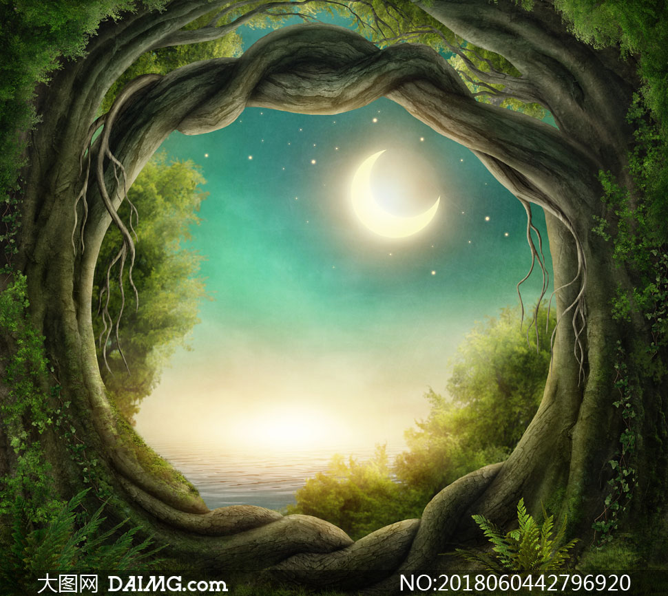 在树藤门外的空中明月摄影高清图片