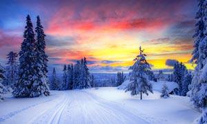 山中雪后夕阳美景摄影图片