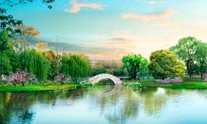 公园里小桥流水美景摄影图片