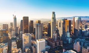 洛杉矶市中心鸟瞰图高清摄影图片