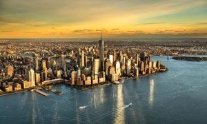 美国纽约曼哈顿海岛鸟瞰图摄影图片