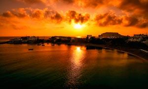 海边美丽的黄昏美景高清摄影图片