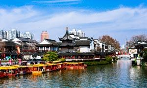 南京夫子庙游船美景摄影图片