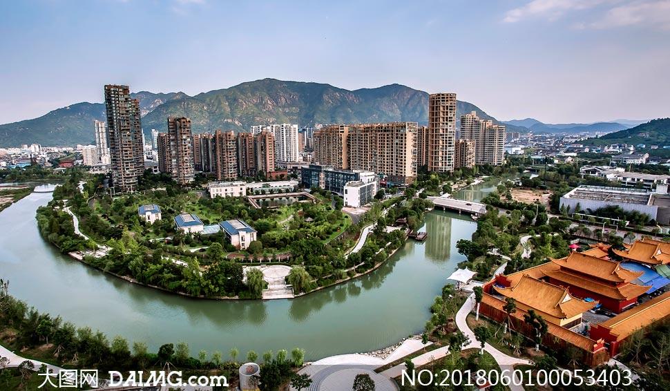 浙江台州黄岩西江公园全景摄影图片