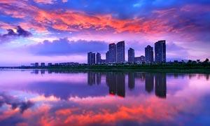 浙江台州黄岩美丽湖景摄影图片