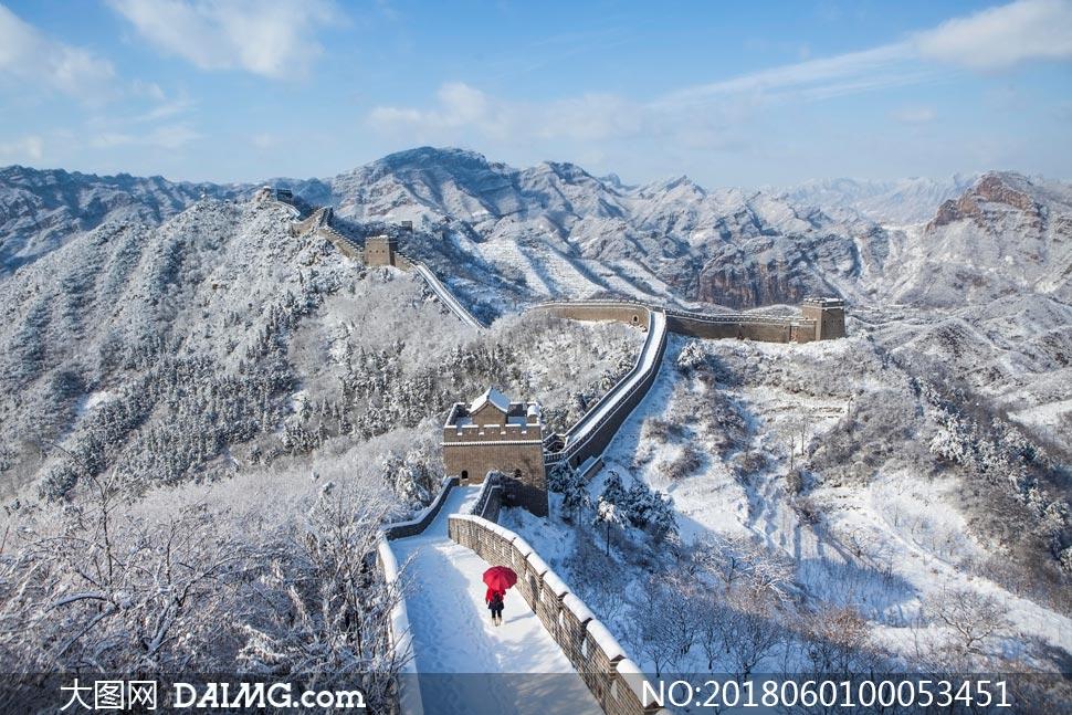 万里长城冬季雪后美景摄影图片