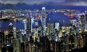 香港维多利亚夜景全景摄影图片