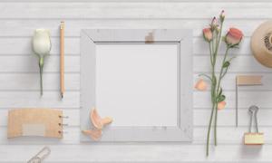 铅笔记事本与画框花朵贴图分层模板