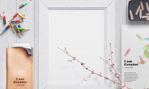 铅笔花枝与空白装饰画贴图分层模板