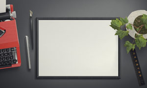 盆栽植物与画框钢笔等贴图分层模板