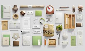 记事本与包装盒等VI元素贴图源文件