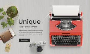 打字机照相机元素网页适用分层素材