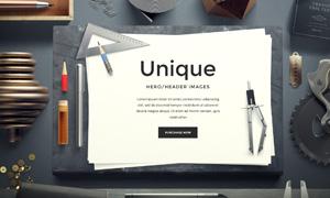 圆规铅笔文具元素网页设计分层素材