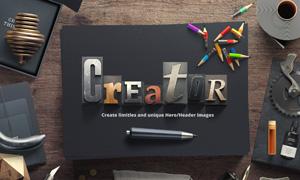 木板上的铅字元素创意网页分层素材