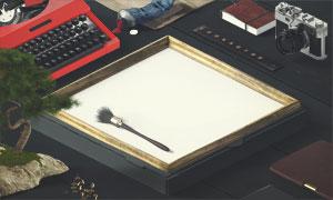 打字机记事本与画框等贴图分层模板