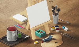 画架画板与颜料桶物品贴图分层模板