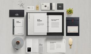 折页文件袋与企业画册贴图分层模板