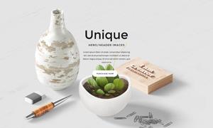 花瓶植物与橡皮擦创意贴图分层模板