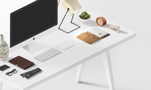 书桌上的电脑等物品贴图模板源文件
