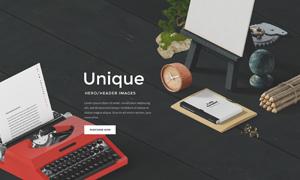 打字机与记事本等元素网页适用素材